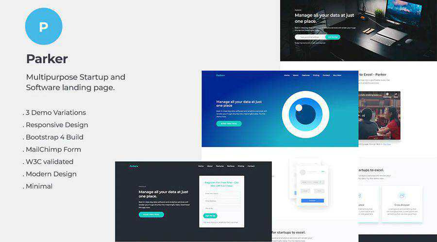 Parker Software Startup Landing Page Template