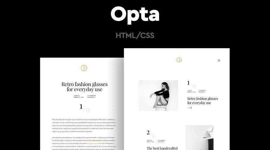 Opta Minimal Portfolio and Photography Template