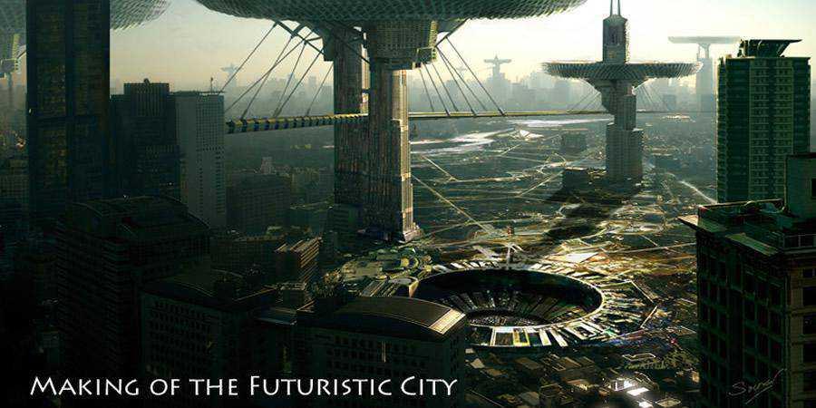 Making futuristic City tutorial graphic designers Photoshop