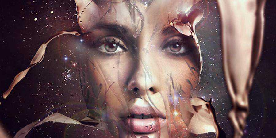 Futuristic Abstract Portrait tutorial graphic designers Photoshop