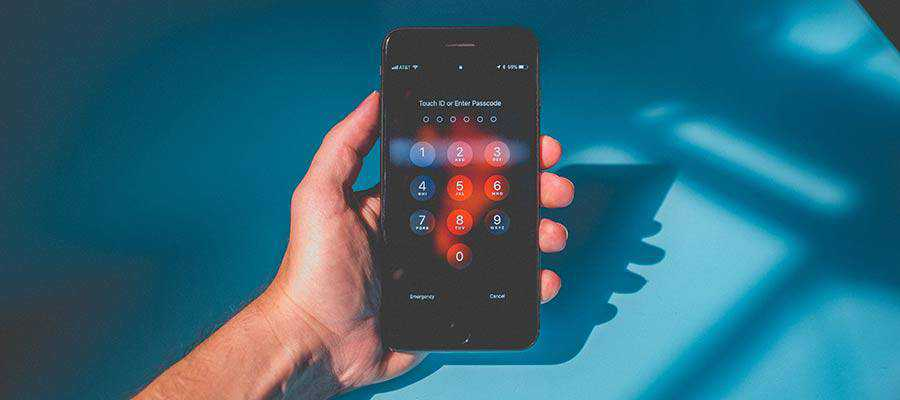 A passcode screen displays on a phone.