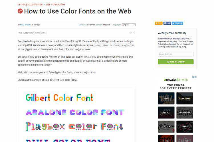 Example from How to Use Color Fonts on the Web