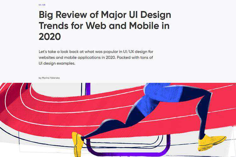 Example from Big Review of Major UI Design Trends for Web and Mobile in 2020