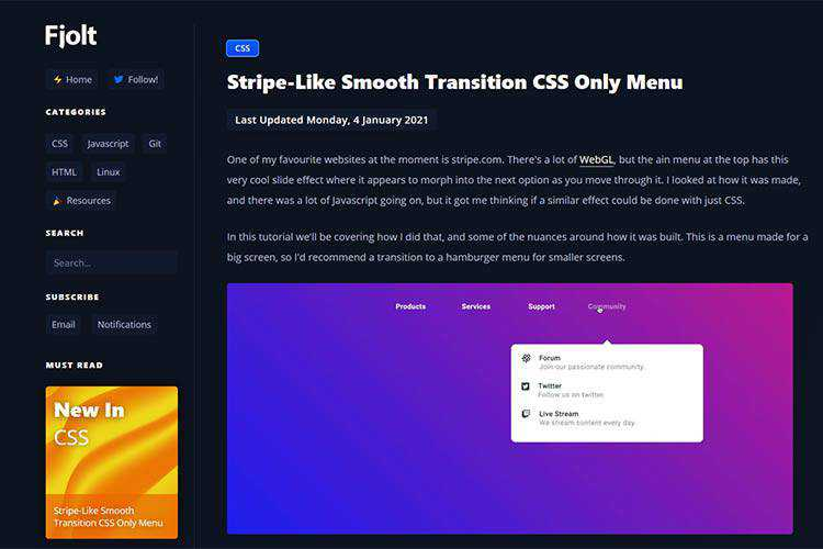 Example from Stripe-Like Smooth Transition CSS Only Menu
