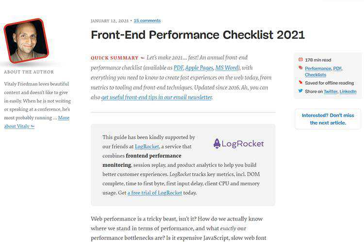 Example from Front-End Performance Checklist 2021