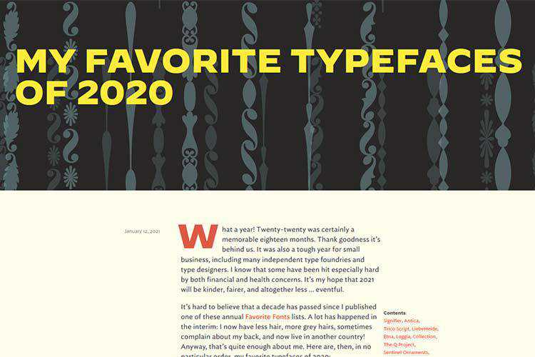Example from My Favorite Typefaces of 2020