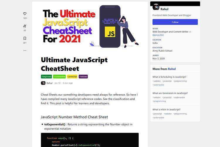 Example from Ultimate JavaScript CheatSheet