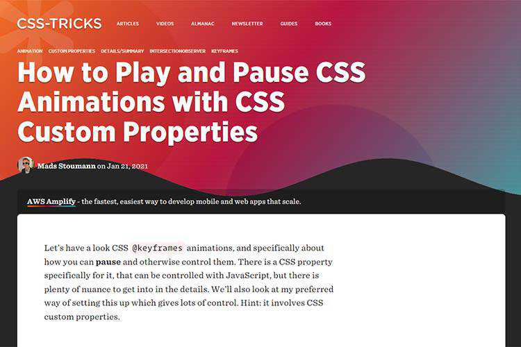 Example from How to Play and Pause CSS Animations with CSS Custom Properties