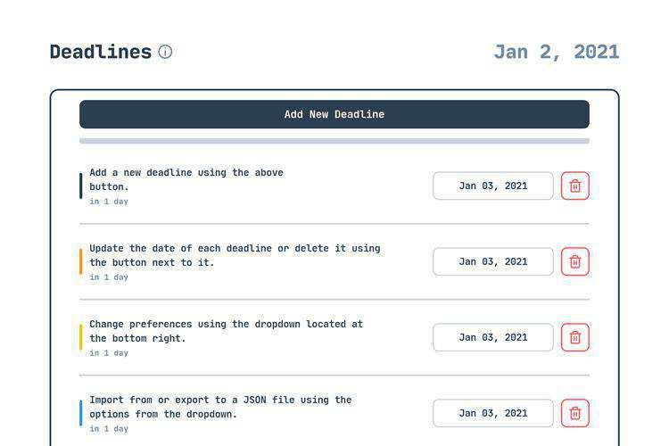 Deadlines offline deadline tracker
