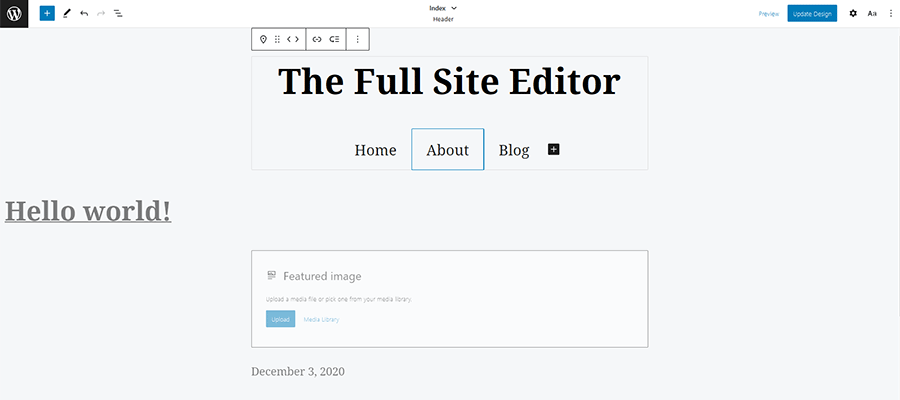 Editing a website template inside WordPress.