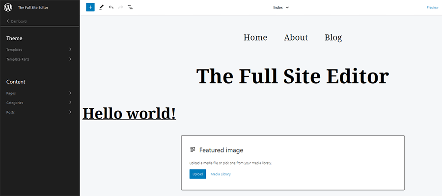 The WordPress Site Editor sidebar.