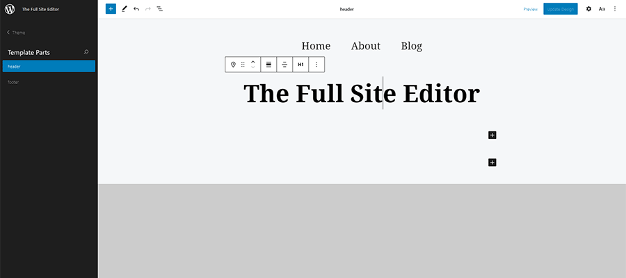 Editing the Header template part in WordPress.