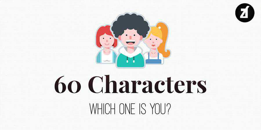 60 Characters in flat design