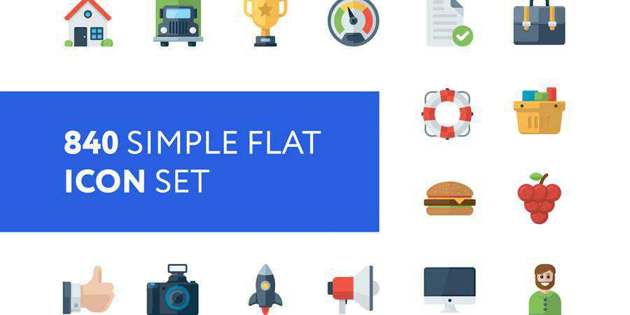 Simple Flat Icon Set