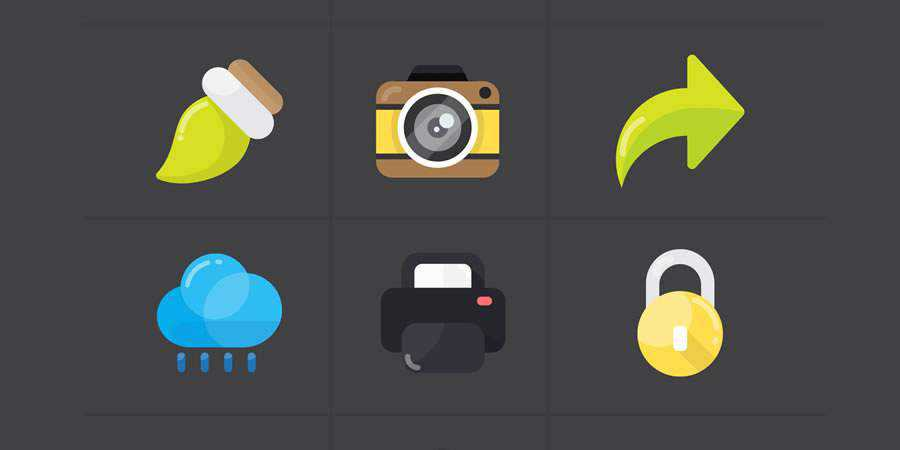 30 Flat Workspace Icons