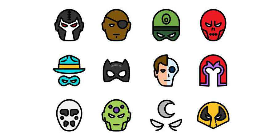 The Flat Superheroes Villains Icon Set