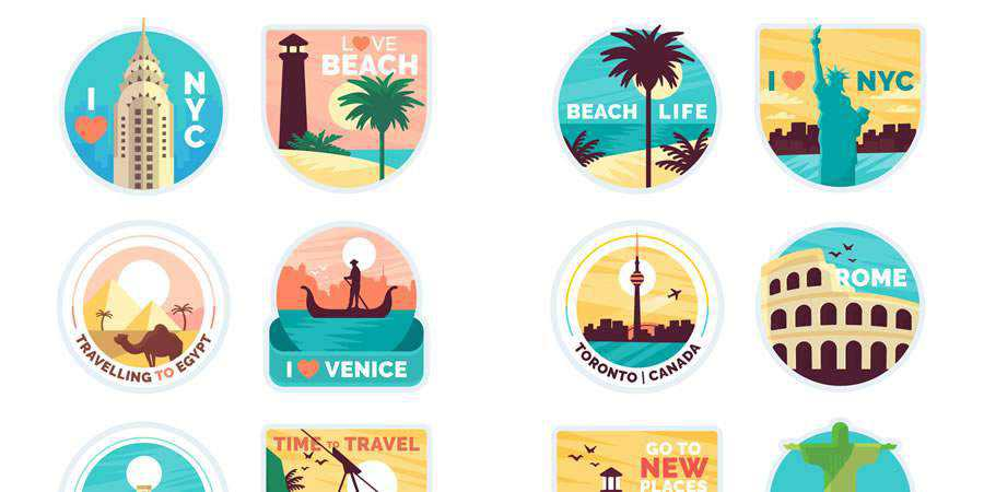 Flat 28 Free Travel Sticker Templates in AI & EPS Formats