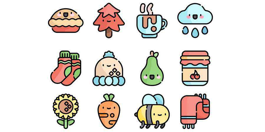 Flat The Free Autumn Kawaii Icon Set in SVG & PNG Formats