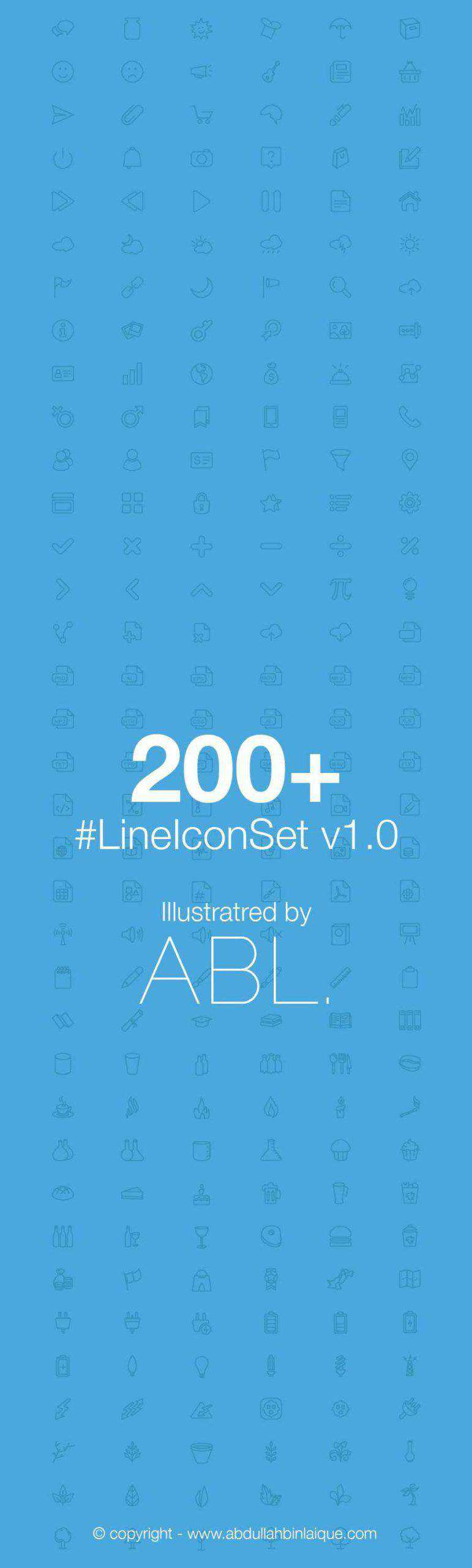 Line Icon Set free icons 200 thin line-styled