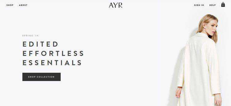 AYR modern minimal design web site inspiration example