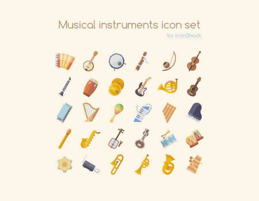 The Free Musical Instrument Icon Set PNG SVG Format guitar drums piano trumpet saxophone