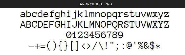 Anonymous Pro Regular Italic Bold free programming code fonts