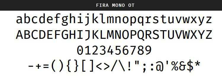 Fira Mono Regular Bold free programming code fonts