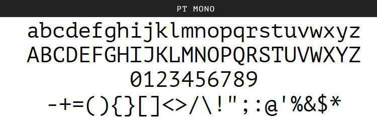 PT Mono Regular Bold free programming code fonts
