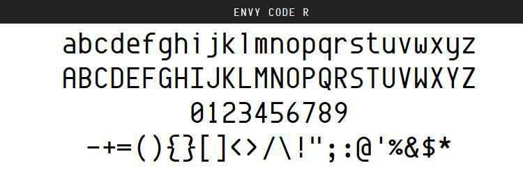 Envy Code Regular Italic Bold free programming code fonts