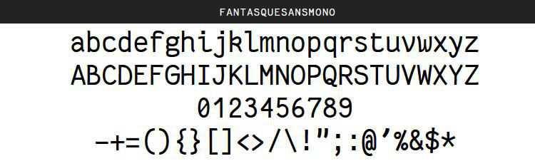 Fantasque Sans Mono Regular Italic Bold free programming code fonts
