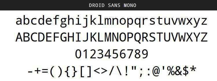 Droid Sans Mono free programming code fonts