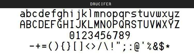 Drucifer Monospace free programming code fonts