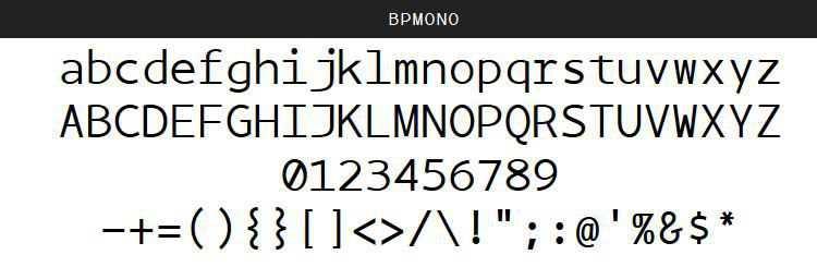 BPmono Regular Italic Bold free programming code fonts