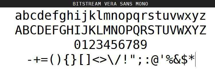 Vera Sans Mono Roman Oblique Bold free programming code fonts
