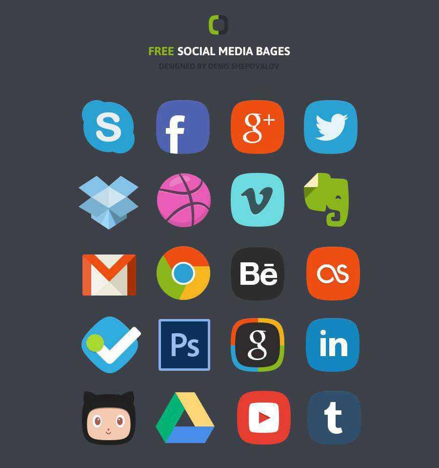 Social Media badges Icon set Freebie Preview