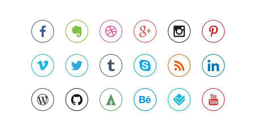 minimal social media icon sets