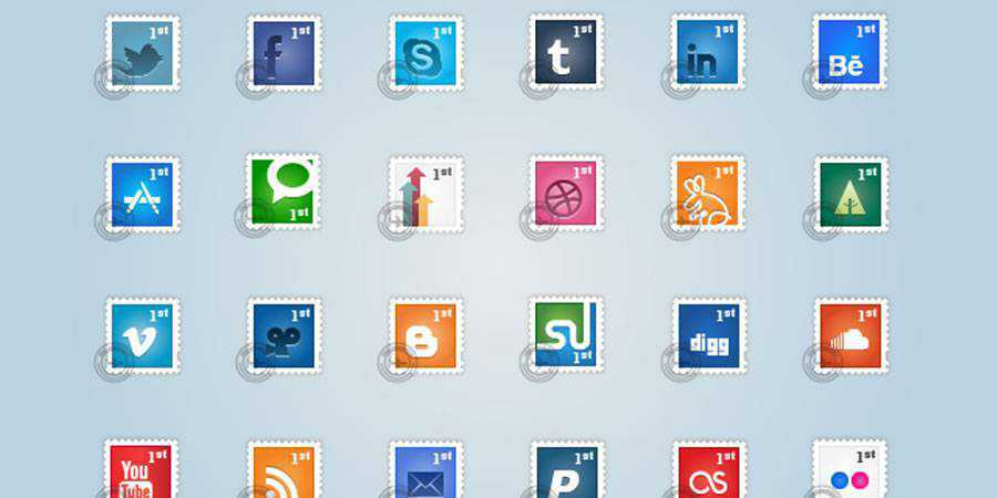Social Postage Stamps social media icon sets