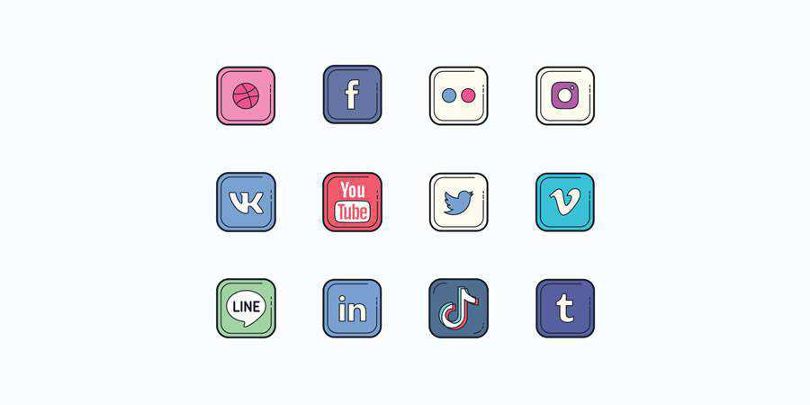 Social Logos in Color Hand Drawn Style