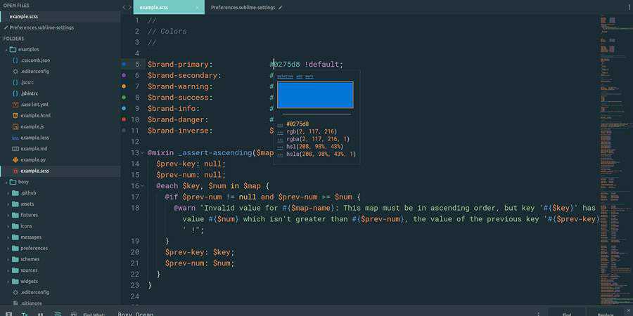 Boxy beautiful sublime text theme