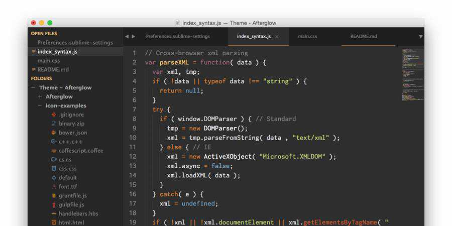 Afterglow beautiful sublime text theme