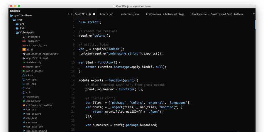 Cyanide beautiful sublime text theme