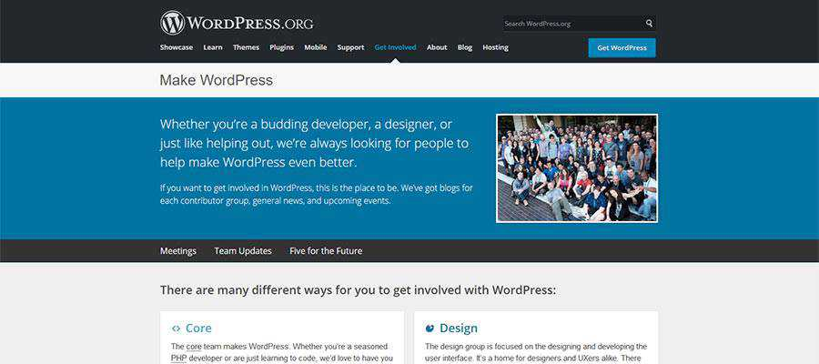 A página inicial do Make WordPress.