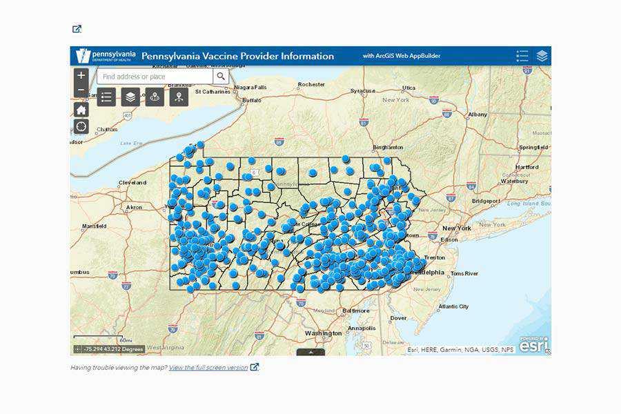 Pennsylvania COVID-19 vaccine location map.