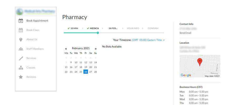COVID-19 vaccine scheduling screen.