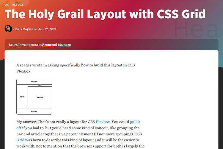 Example from The Holy Grail Layout with CSS Grid