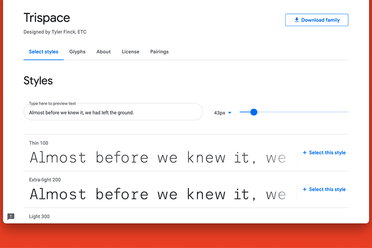 Example from Trispace is now on Google Fonts