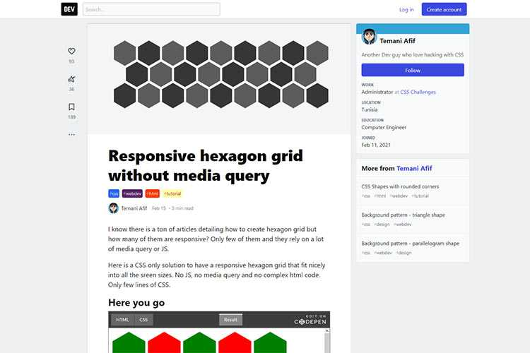 Example from Responsive hexagon grid without media query