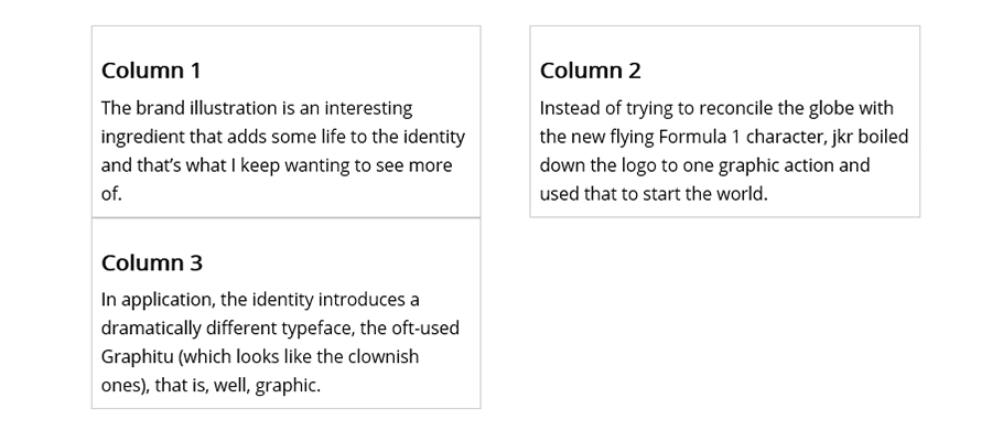 A 3-column CSS layout, with the third column pushed to a new row.
