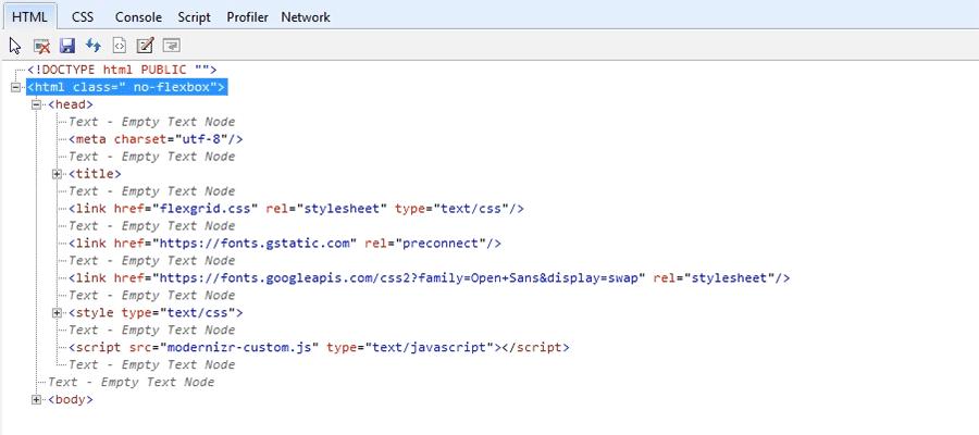 Internet Explorer Developer Tools displays no support for CSS Flexbox.