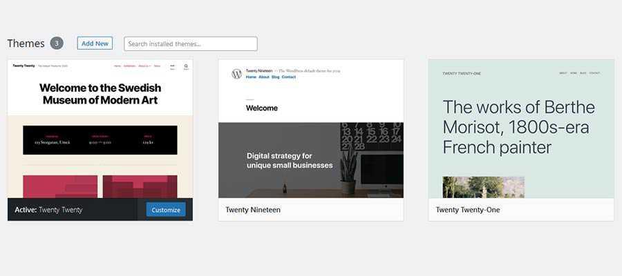 WordPress Themes page.